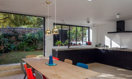 kitchen extension with ultraslim doors